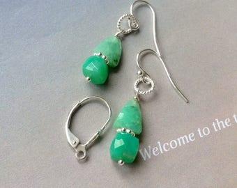 Apple Green Chrysoprase Earrings, Sterling Silver, Ear Wires, Lever Backs, Genuine Chrysoprase , green gemstone, natural gemstones