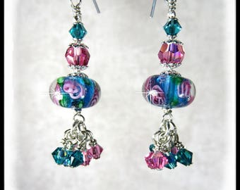 Teal and Pink lampwork glass bead earrings, teal blue earrings, pink earrings, teal and pink Swarovski crystals,