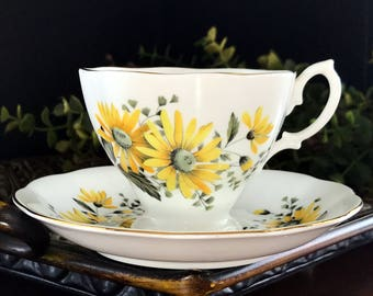 Royal Albert Cup and Saucer, Yellow Daisy, English Bone China Teacup