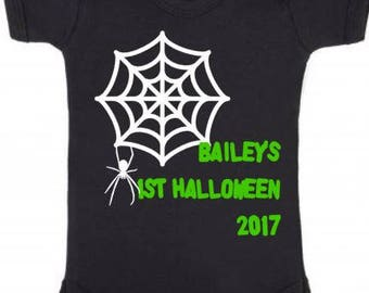 Personalised your name's  1st halloween 2017 print baby vest spider web cobweb