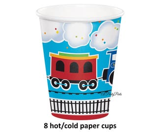all aboard train cups, railroad party, childrens birthday, kids, toddler parties, choo choo trains, party ideas, locomotive, boys theme