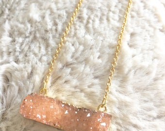 Druzy Peach Necklace