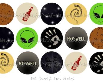 Roswell inspired Bottlecap image sheet - 4x6 sheet, 1 inch circles.