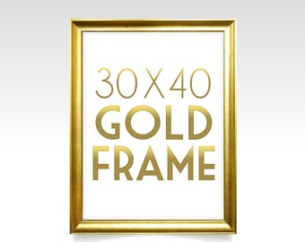 30 x 40 GOLD FRAME . Solid Maple Wood in Rose Gold Wedding Silver White Black Rustic Pine . With or Without Glass . Ready to Hang Hardware