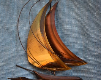Brass and Copper Sailboat Wall Hanging - MCM Metalwork Boat/Nautical/Sea/Ocean/Beach House