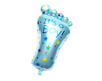 "Its a Boy Foil Balloon - blue baby foot 23""x 32"""