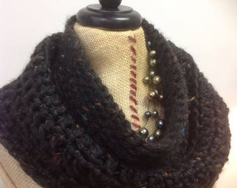 Outlander style, Frankie the Duck cowl, black tweed neck warmer in warm and fuzzy soft acrylic yarn