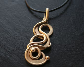 Bronze Triple Loop Pendant on Leather cord