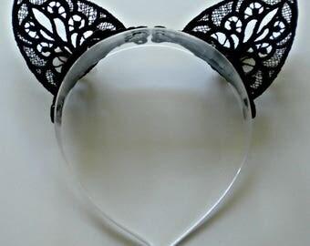 Black cat ear headband - lace cat ears