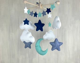 Baby mobile - moon mobile - star mobile - mint - navy - cloud mobile - nursery mobile - star banner - grey - baby mobiles