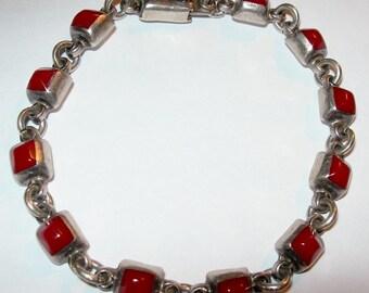 "8"" Vintage Mexican Taxco Sterling 925 Coral Link Bracelet 15.6 Grams"