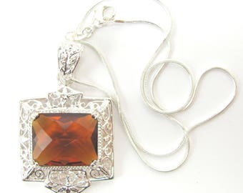 """Sterling Silver Pendant with Citrine Gemstone on 16"""" Chain"""