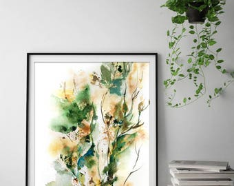 Abstract green fine art print, leaves intuitive painting, waterrcolor painting print, abstract wall art