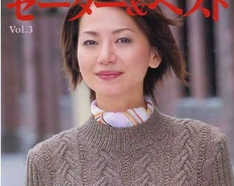 """39 JAPANESE KNITTING PATTERN-""""Lets Knit Series Vol.3.""""-Japanese Craft E-Book #151.Two Instant Download Pdf files.Sweater,Bolero.Jacket,Blous"""