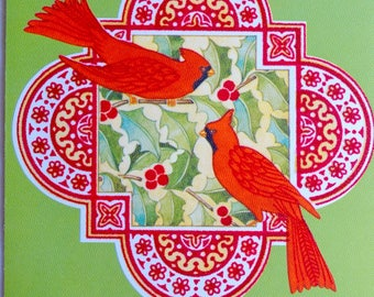 Vintage Christmas Card  - Cardinal Birds - Unused