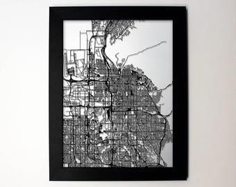 Salt Lake City, Utah laser cut street map modern art - custom city  wall decor engagement graduation wedding anniversary gift