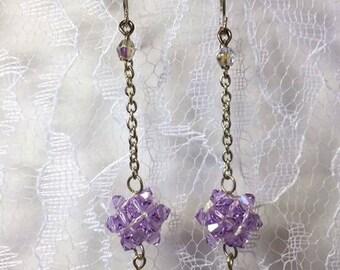 swarovski crystal cluster drop earrings