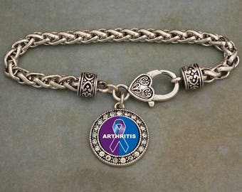 Arthritis Awareness Ribbon Rhinestone Charm Bracelet
