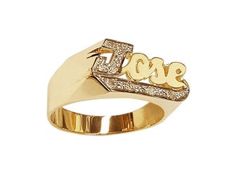 Lee116Bd-14K 12mm 14K Gold Block Letter Accented w/ 8 Diamond Name Ring