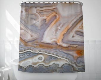 Shower curtain of agate texture, Bath decor, Home gifts, Mineral photography, Bath accessory, Original fabric curtain Polyester, Cool. MW090