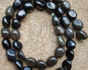 "Natural Black Obsidian Nugget Beads 10mm to 12mm - 15.5"" Strand"