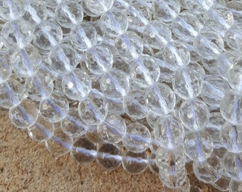 """Natural Crystal Quartz Faceted 8mm Round Beads - 15"""" Strand"""