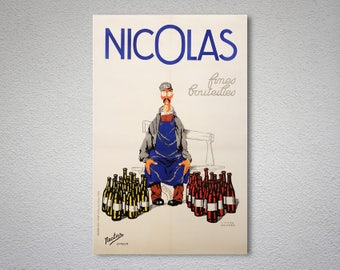 Nicolas Fines Bouteilles  Vintage Food&Drink Poster, 1930   - Poster Print, Sticker or Canvas Print / Gift Idea