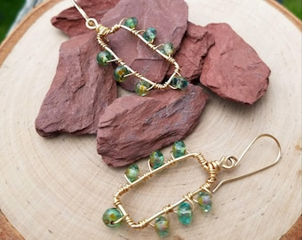 NEW, Earrings, Wire Wrapped, 14k Gold Filled, Czech Glass Beads, Faceted, Rondelles, Green, Rectangle, Dangle, Handcrafted, Unique, OOAK