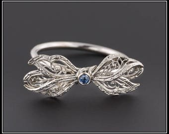 White Gold Filigree Bow Ring| Vintage Pin Conversion Ring | 14k White Gold Bow with Sapphire on 10k Band | Vintage Bow Ring | White Gold Bow