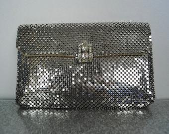 40s Whiting & Davis Silver Mesh Clutch - Vintage 1940s Silver Mesh Formal Rhinestone Handbag
