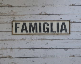 Famiglia Sign, Italian Sign, Italian Decor, Mangia Sign, Cucina Sign, Custom Wood Sign, Italian Sign, Kitchen Sign