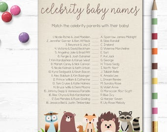 Printable Baby Shower Game, Celebrity Baby Names, Celebrity Trivia, Baby Shower, Party Games, Woodland Baby Shower, Digital, MB200