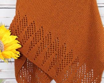 Orange poncho,  rust colored knitwear, pumpkin, small ladies knits, petite knitwear