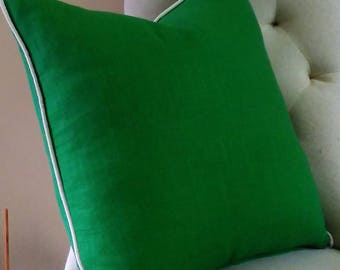 Green Linen Eurosham Pillow Cover Kelly Emerald Malachite Grass Green Knife Edge or Piping 24x24 26x26