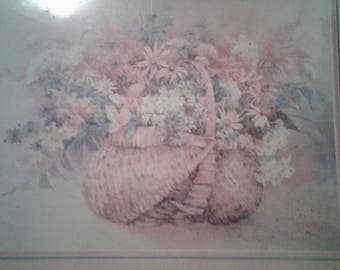"""Vintage 1989 Yuan Lithograph/ Titled """"Daisies And Wicker""""/Route 66 Motel/ Flagstaff, Arizona"""