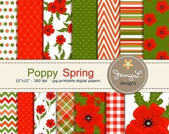 50% OFF Spring Poppy Digital Paper, Poppies Flower, Floral  for Birthday, digital Scrapbooking, Wedding, Baptism