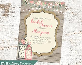 Enchanted Lanterns Invitation - Floral - String Lights Wedding - Birthday - Anniversary - Baby Shower - Bridal Shower