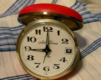 Vintage Travel Clock Wind Up Red Case