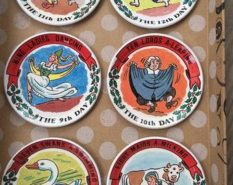The Twelve Days of Christmas Vintage Metal Coasters