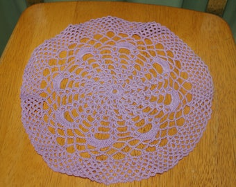 "Hand Crafted DOILY - 11"" Lavender/Purple Hand Crocheted Doily"