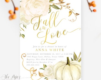 Fall Bridal Shower Invitation: Fall in Love, Autumn Bridal Shower Invite, Pumpkin, Gold & White Roses, Printed or Printable - Design Fall 2