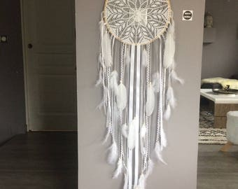 Dream catcher / dreamcatcher giant lace, feathers and wood beads