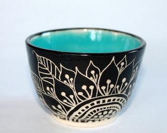 Black, White, Blue Sgraffito Vase, OOAK Handmade Vase,
