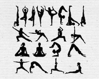 Yoga Silhouette, Printable Clipart for Scrapbooking and Cardmaking with SVG cut file and Editable EPS