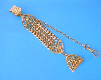 Gold Filled Watch Chain Seal Fob Fancy Chain Vintage