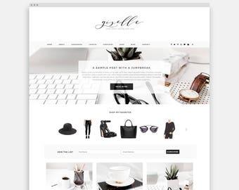 Feminine Wordpress Theme for Fashion Bloggers and Lifestyle Bloggers, WordPress Theme for Female Entrepreneurs, Customizable WordPress Theme