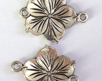 tropical flower silver-plated 27x21mm 2 connectors