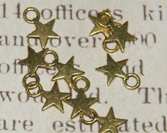 Star 5 charms in antique gold metal 11x8mm