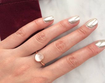 Simulated Moonstone Rose Gold Solitaire - SIZE 6