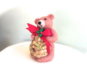 Needle felted bear Christmas bear with honey bee hive decorations bear cake topper bee hive decor bee hive house felt wool gift cute red